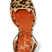 Charlotte Olympia - Brogue Kitty embroidered leopard-print calf hair point-toe flats