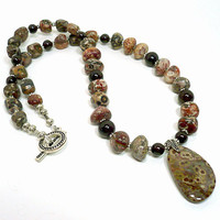 Red Garnet and Leopardskin Jasper Nugget Handmade Artisan Necklace