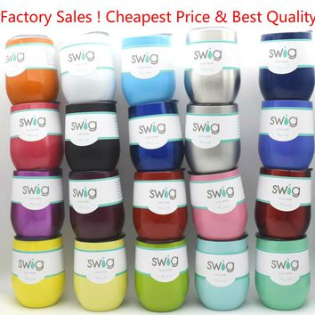 Best & Cheap 9OZ SWIG Mug Cup Powder Coated Stainless Steel 10 oz 9oz Swig Wine Tumbler with Lid Wine glass beer coffee mug Cup