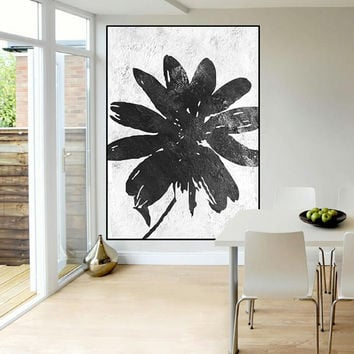 abstract flower painting, original abstract painting on canvas, acrylic painting black and white, large abstract art,