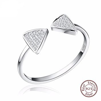 Genuine 925 Silver Rings CZ Paved Bow Open Cuff Adjustable Finger Girl's Rings for Women