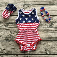 2017 Baby Girl fourth of july outfits summer Romper Pretty Romper newborn girl 4th of july baby july 4th outfit set star print
