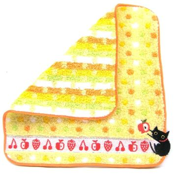Black Kitty Cat Embroidered Polka Dotted Handkerchief Face Towel in Yellow | Japan