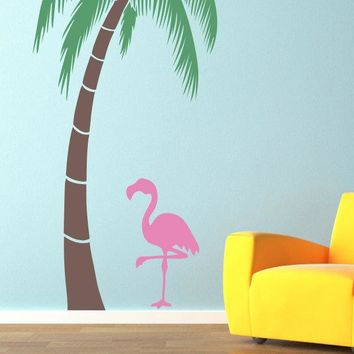 Pink Flamingo Wall Decal - Tropical bird wall art - Flamingo decal