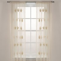 Fleur-De-Lis Sheer Window Curtain Panel in Ivory