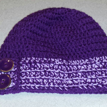 Beanie with Buttons Preteen to Adult