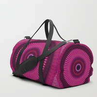 Bright Pink Mandala with Gold Brushed Stitching Duffle Bag by Sheila Wenzel