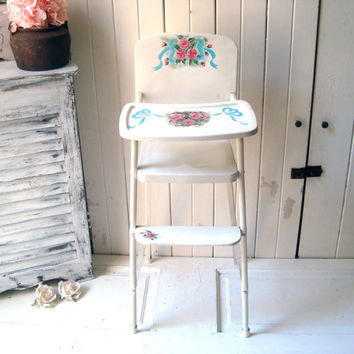 Vintage Amsco Cottage White Doll High Chair, White Metal High Chair with Shabby Chic Flowers, Little Girls Bedroom Play Decor, Cottage Chic
