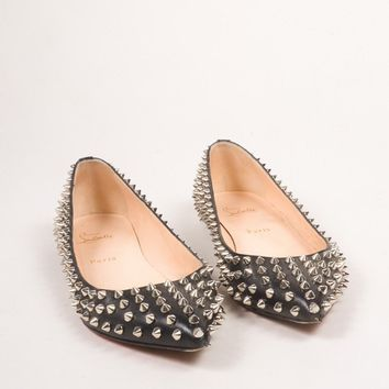 DCCK2 Christian Louboutin Black Leather Spike Embellished Pigalle Flats