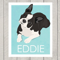 Boston Terrier Art Print - Custom Dog Art - 8x10