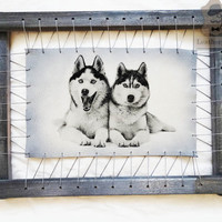 Pet Portraits Painting Custom Painted Husky Pyrography Dog Art On Leather Wood Framed Gift For Pet Lover Wall Home Decor Personalized Design