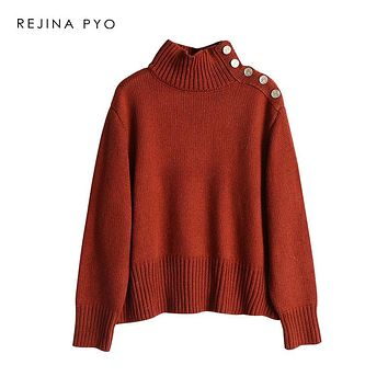 REJINAPYO Women Oversized Fashion Solid Sweater Pullovers Women Turtleneck Thick Loose Knit Sweater Drop-Shoulder Long Sleeve
