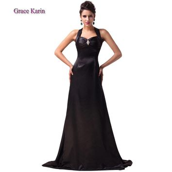 2015 GK halter design Black long mermaid prom dress bandage floor length Satin Evening Gown mermaid Maxi Party dresses CL6056