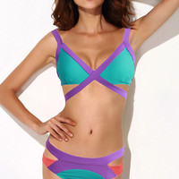 Green Color Block Strappy Cut-Out Bikini Swimsuit