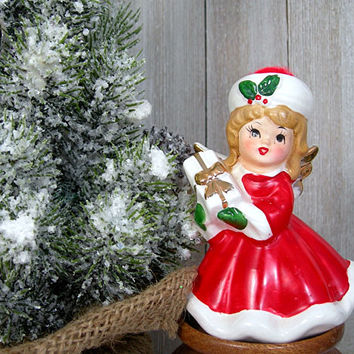 Christmas Angel Figurine - Girl Angel Figure Holding Gift - Red Gown and Hat - White Fur Trim - Vintage 1960 Holiday Decor - Made in Japan