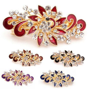 1PC Fashion Women Girl Cute Princess Colorful Shinning Crystal Rhinestones Peacock Party Wedding Hairpin Hair Clip Jewelry Hot