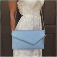Skies are Blue Clutch Handbag