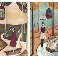 Birdcages and Ships Print Set by sarahblank on Etsy