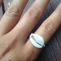 Cowrie shell wire wrapped ring