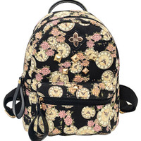 Black Printed Clock Canvas Backpack