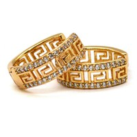 (1-2642-A-j6) Gold Plated Greek Design Huggie Hoops, 19mm.