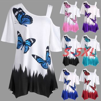 2018 Women's Fashion Butterfly Print Plus Size Tunic T-shirt