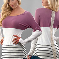 Stripes and Solids Lace Top - Mauve