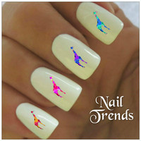Giraffe Nail Decal. 20 Vinyl Stickers Nail Art