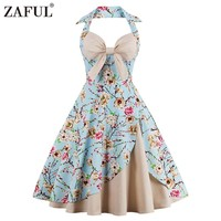 ZAFUL Plus Size Women Summer Vintage Dress Retro 50s Floral Print Pin Up Bowknot Halter A-line Party Dresses Feminino Vestidos