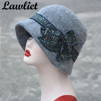Lawliet Flower Floppy Women Winter Hat Wool Fedoras Downton Abbey Bucket Hats Gray Black Gatsby Vintage Style Cloche Church Hats