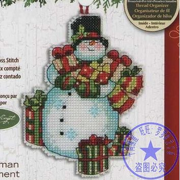 Top Quality Lovely Hot Sell Counted Cross Stitch Kit Snowman Jingle Bells Christmas Tree Ornament Ornaments Dim 08896