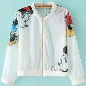 Stand Collar Zip Up Cartoon Character Print Varsity Jacket