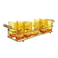 Mid Century Amber Glass Tumbler Set (8) With Ice Bucket Dish On Metal Wire Carrier Tray - Retro Party Serving - Vintage Home Kitchen Bar