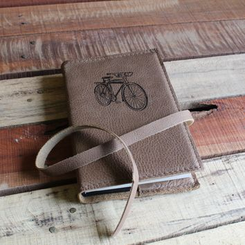 Vintage Bike with Headlights Leather Journal