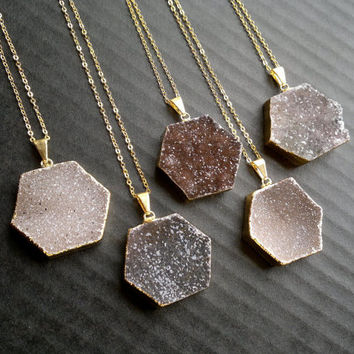 Druzy Necklace Druzy Hexagon Necklace Gold Edged Hexagon Jewelry Natural Color Stone Necklace Gold Edged Layering Druzy Necklace Geometric