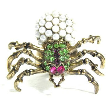 Crystal Spider Ring Size 6.5 Faux Pearl Black Widow RH32 Gothic Vintage Cocktail Fashion Jewelry