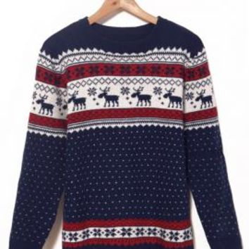 North Star Nordic Print Polka Dot Sweater in Navy | Sincerely Sweet Boutique