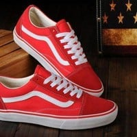 DCCKIJG VANS Classic Old Skool Low Red / White sneaker Casual Shoes