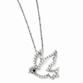 "Sterling Silver CZ Dove 18"" Necklace"