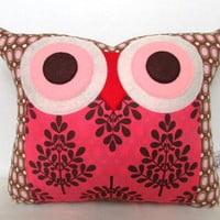Raspberry /chocolate dots/ pink / Polyfil Stuffed The Raspberry Trees Owl Pillow
