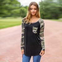 Women's Camouflage Pull Over Shirt with Pocket
