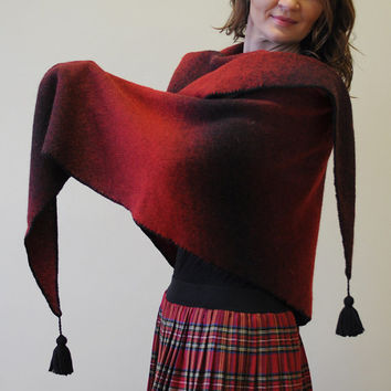 Large red knitted woolen triangular wrap with black wide stripes, made from 100% of woolen yarn.