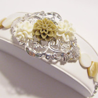 Bridal Cuff Bracelet, Silver Filigree with Flowers in Tan and Ivory, with MOP bracelet, Wedding, Bridal