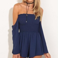 Dark Blue Strapless Romper 12603