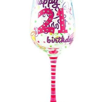 Top Shelf 21st Birthday Wine Glass  Hand Painted  Unique Gift Idea