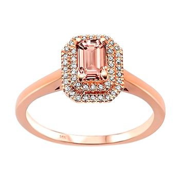 d1d613d507d39 Best Rose Gold Morganite Ring Emerald Cut Products on Wanelo