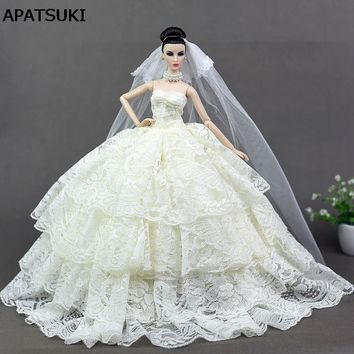 Beige Lace Wedding Dress for Barbie Doll Princess Evening Party Clothes Wears Long Dress Outfits With Veil 1/6 Doll Accessories