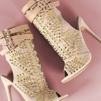 Shoe Suede Studded Peep Toe Stiletto Booties