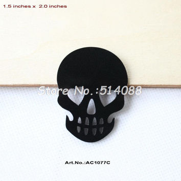 (24pcs/lot) 50mm Acrylic Skull Rings Cutout Black Skull Halloween Party Scrapbook 2 inches -AC1077C