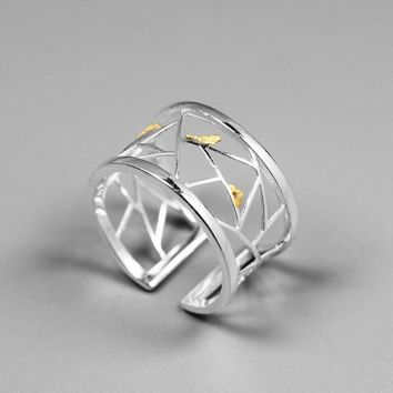 INATURE 925 Sterling Silver Ring Fashion Minimalist Design Bird on Window Open Rings for Women Jewelry